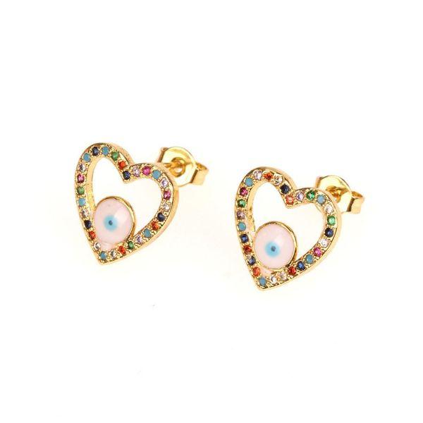 Fashion micro-set diamond eye earrings exquisite hollow love heart-shaped zircon earrings NHPY177288