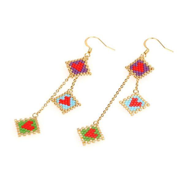 Multi-layer pendant earrings MIYUKI imported rice beads love earrings NHPY177264