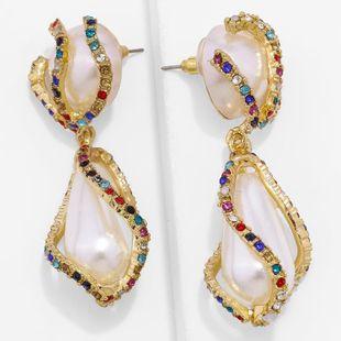 Alloy geometric rhinestone earrings vintage glass diamond NHKC177323's discount tags