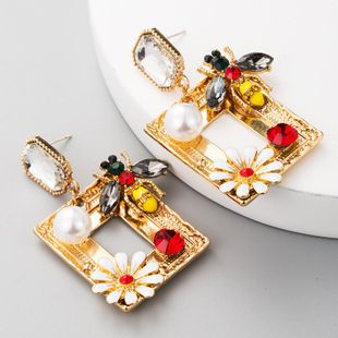 Square Alloy Drop Oil Flower Earrings Women's Diamond Drop Oil Bee Stud Earrings S925 Silver Earrings NHLN177049's discount tags