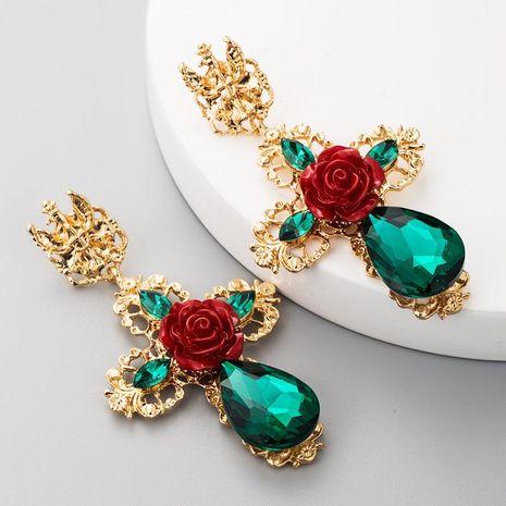 S925 silver flower earrings female alloy cross-studded drop-shaped glass drill Baroque retro earrings NHLN177047's discount tags