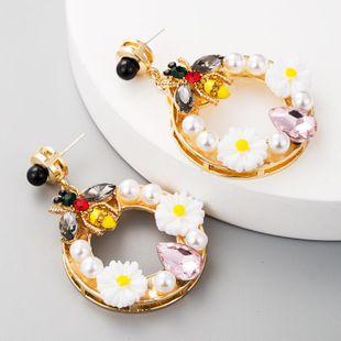 Alloy Ring Flower Earrings Women's Diamond Bee Earrings S925 Silver Pearl Earrings NHLN177050's discount tags