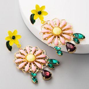 S925 silver multi-layer alloy drop oil flower earrings ladies diamond tassel earrings elegant creative earrings NHLN177053's discount tags