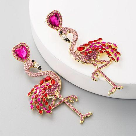 Hot Flamingo Earrings Women's Long Inlay Rhinestone Women's Stud Earrings Vintage Alloy Earrings NHLN177058's discount tags