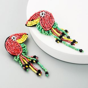 Earrings female handmade rice beaded tassel stud earrings retro animal earrings NHLN177059's discount tags