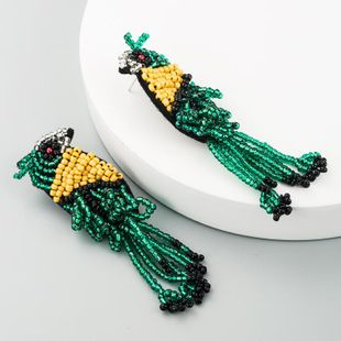 Cloth rice beads earrings female creative tassel animal bird earrings long hand beaded earrings NHLN177057's discount tags
