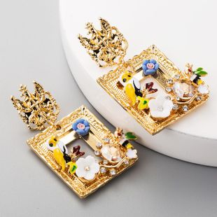 Vintage Square Earrings Female Alloy Drop Oil Bird Flower Diamond S925 Silver Earrings NHLN177054's discount tags