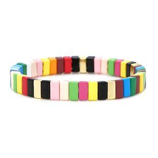 Color de pintura de aleación de moda y pulseras de color para hombres y mujeres NHGW177201's discount tags