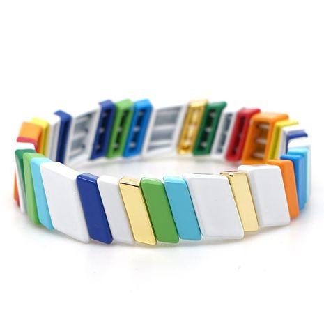 New fashion jewelry zinc alloy oblique bead paint glaze color protection female bracelet NHGW177206's discount tags