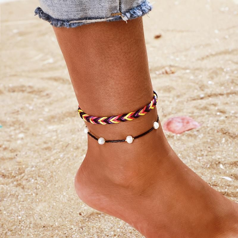 Ethnic style hand-woven color line rope pearl anklet 2 piece set unisex NHGY177487