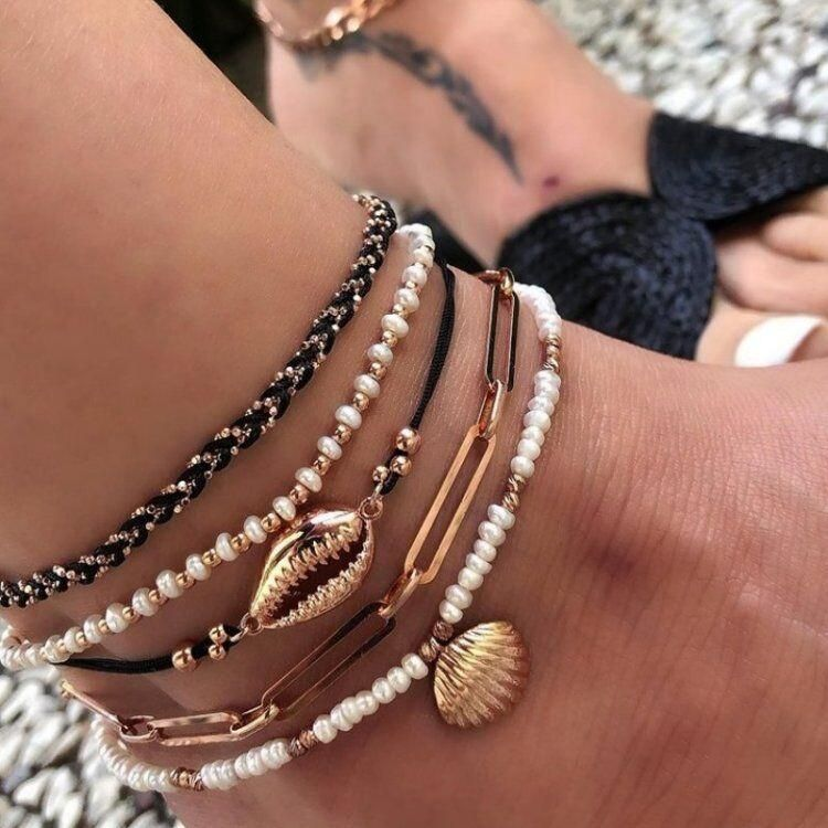 Handmade DIY rice beads shell multi-layer anklet chain scallop anklet 5 piece set female NHGY177492