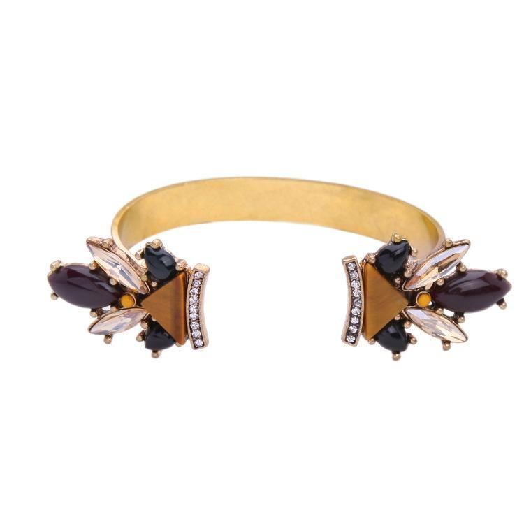 Wish cross-border Qingdao European and American fashion items jewelry opening diamond alloy generous tide women's bracelet NHQD177516