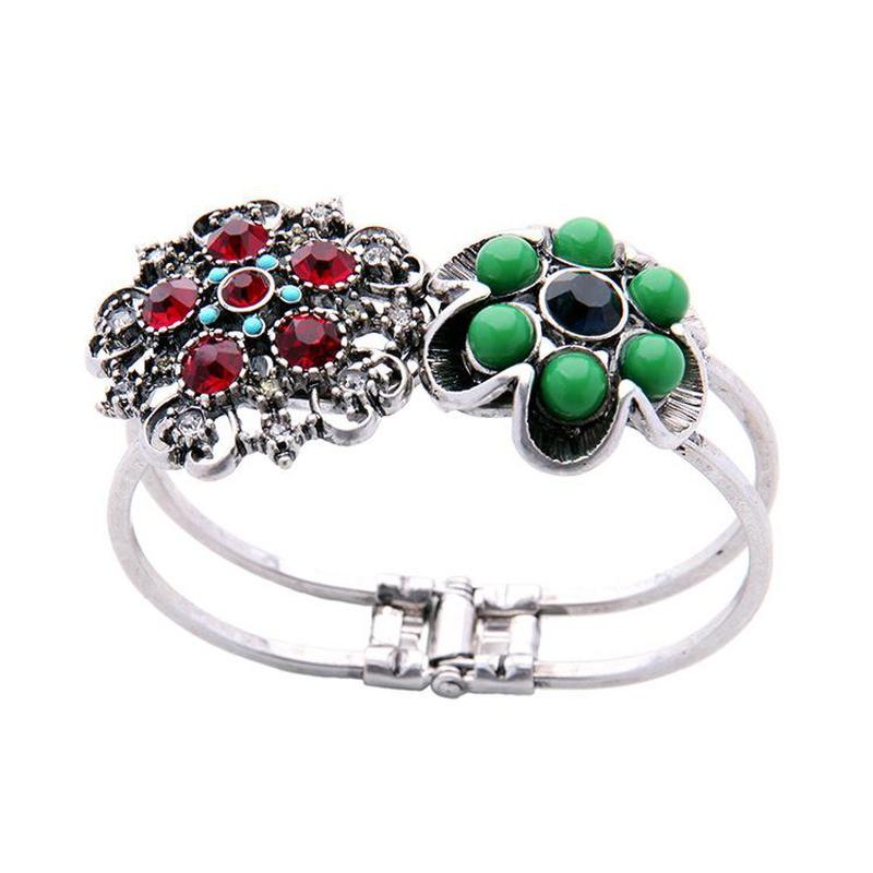 Vintage Bracelet with Diamond Cutout Flower Alloy Bracelet NHQD177520