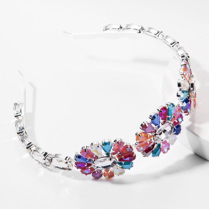 Alloy diamond super flash glass drill flower headband female temperament high-grade adult headband bridal headdress NHJE177412
