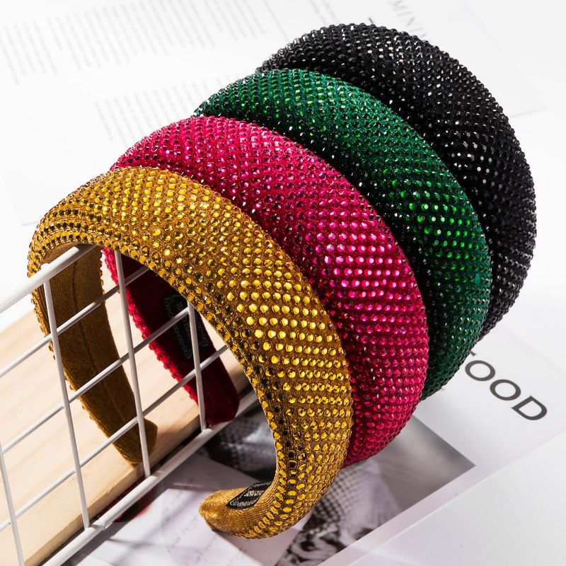 High-end European and American fan fashion gold velvet inlaid resin drill full diamond headband ladies soft sponge wide side solid color headband NHJE177415