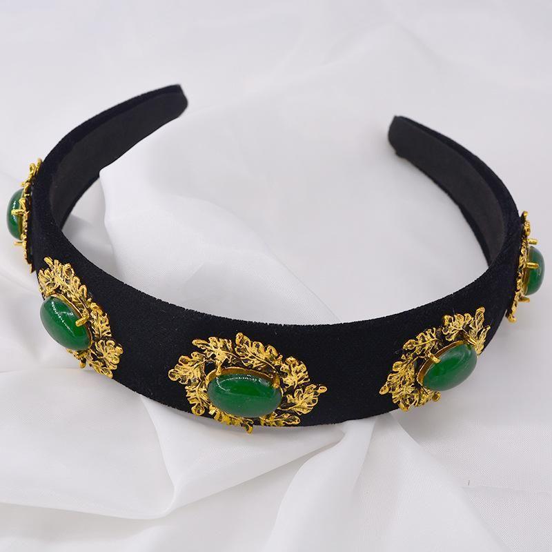 Baroque headband female net red hair wide adult autumn and winter new Korean version of the headwear sweet green bit hoop simple NHNT177555