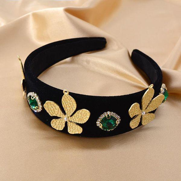 Baroque leaves gold velvet headband emerald crystal thick sponge shape catwalk hairpin NHNT177558