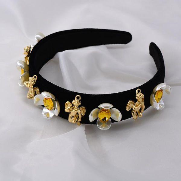 New wide headband Baroque flamboyant headband flower diamond angel pearl hairpin NHNT177562
