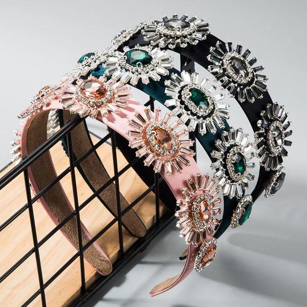Wide-brimmed cloth headband hair accessory baroque wind glass diamond-studded flower headband female NHLN177688