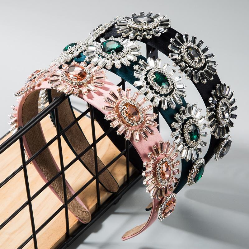 Widebrimmed cloth headband hair accessory baroque wind glass diamondstudded flower headband female NHLN177688
