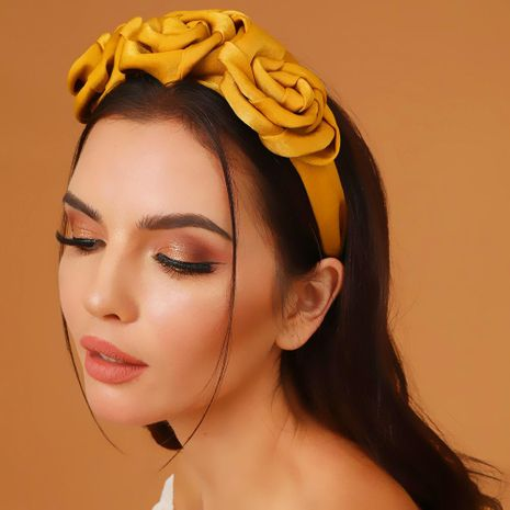 Exaggerated with the same paragraph satin flowers solid color fabric fashion headband cross-border NHMD177685's discount tags