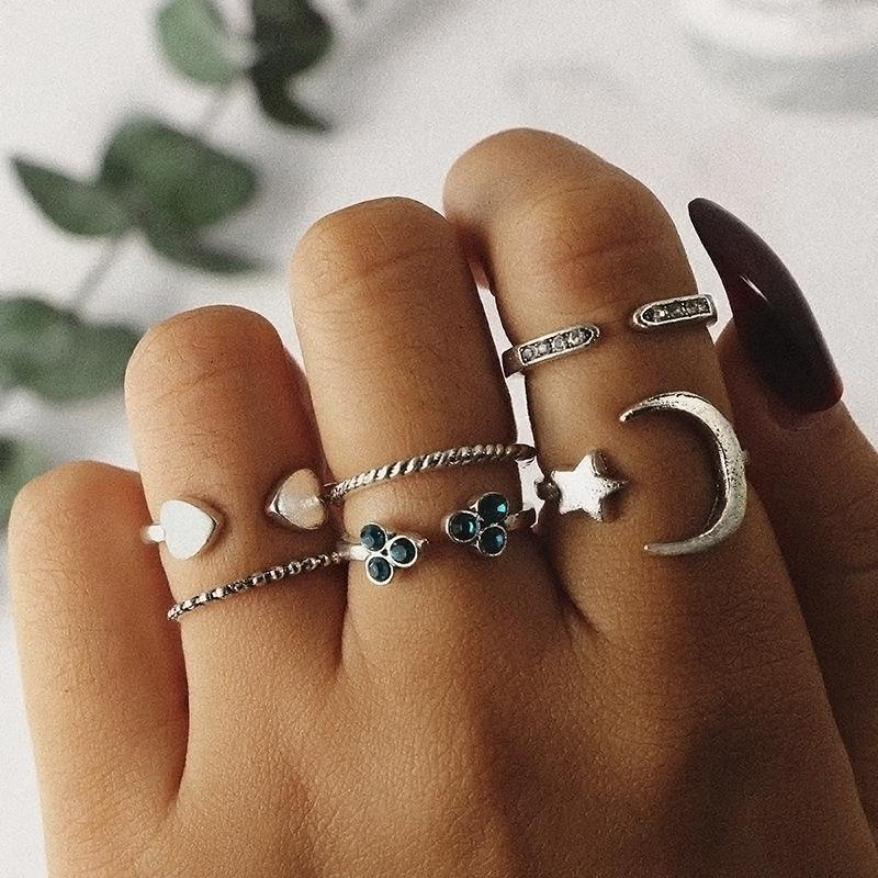 Fashion retro stars moon open hemp rope love joint ring diamond ring set of six NHGY177497