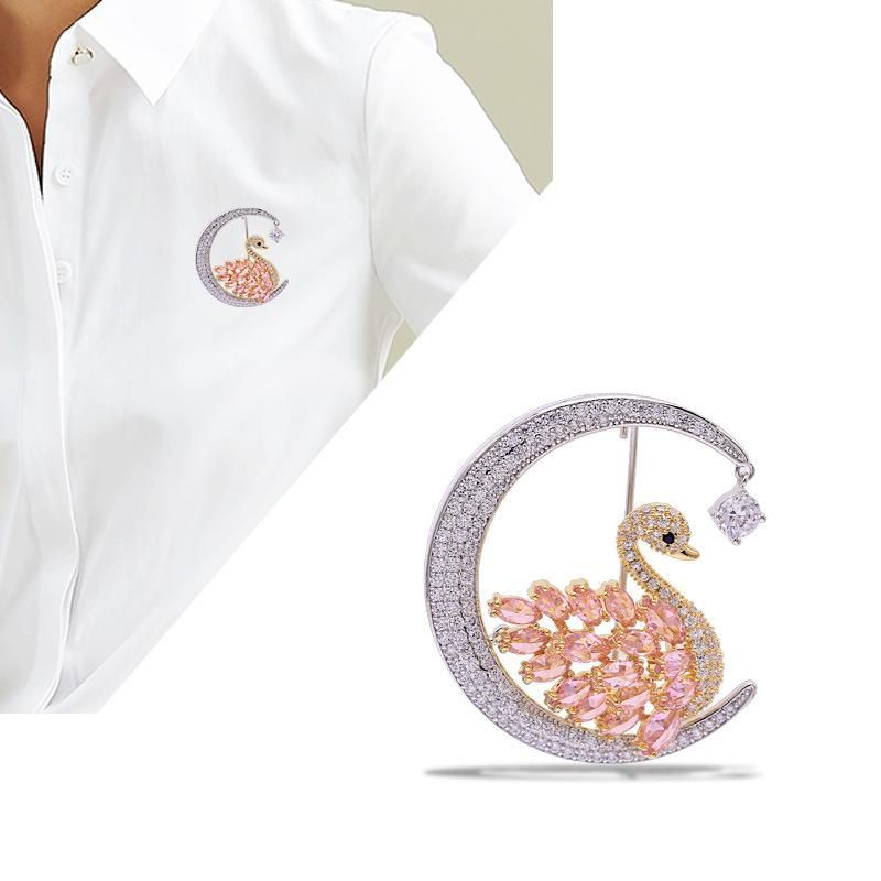European and American pink swan brooch female coat coat wild moon boutonniere NHDO177654
