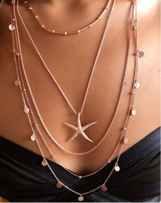 Collar de múltiples capas collar femenino personalidad bohemia aleación redonda estrellas de mar estrellas NHGY177489