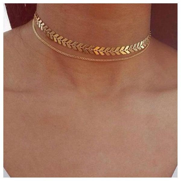 Temperament personality fishbone aircraft chain clavicle chain hot short necklace female NHCT177387