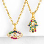 Colgante con incrustaciones de diamantes en color de palma delicada cadena de suéter compacto NHAS177636
