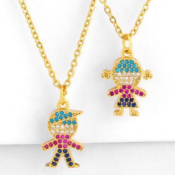 Collar de niña chapado en cobre collar de pareja de diamantes de color completo cadena de clavícula NHAS177637
