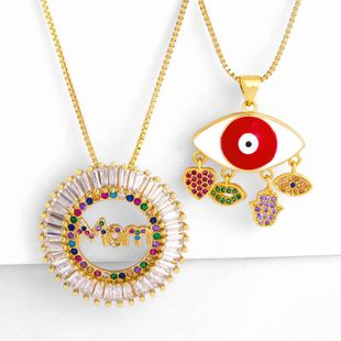 Fashion temperament wild inlaid color diamond mom drop oil eye necklace NHAS177642's discount tags