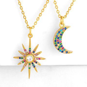 Estrellas brillantes, luna, circón de colores, collar con colgante europeo y americano NHAS177644