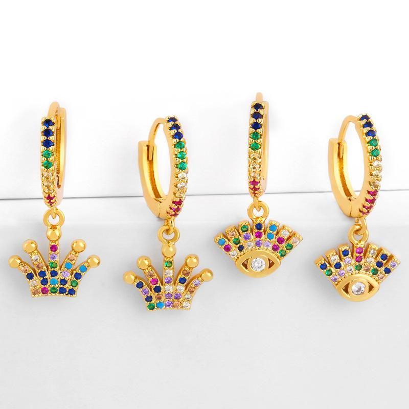 Finger victory gesture earrings female colorful zircon earrings personality fashion earrings NHAS177640