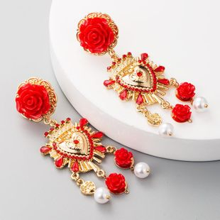 European and American fashion retro S925 silver needle alloy resin flower earrings women set rhinestone imitation pearl earrings palace wind NHLN177687's discount tags
