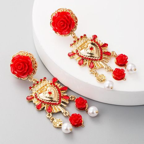 European and American fashion retro S925 silver needle alloy resin flower earrings women set rhinestone imitation pearl earrings palace wind NHLN177687's discount tags