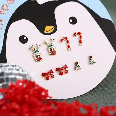 Quatre paires de dessin animé Boucles d'oreilles de cerf de Noël Boucles d'oreilles noeud d'arbre de Noël Boucles d'oreilles tête de cerf Canne NHPJ177649's discount tags