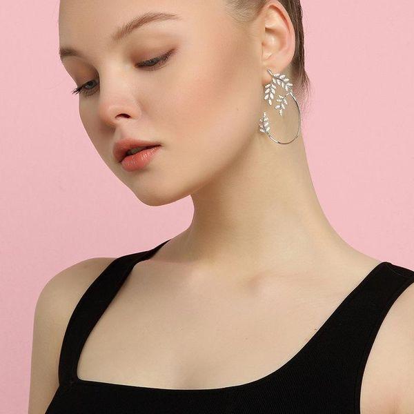 Temperament fashion olive branch earrings silver leaf diamond earrings earrings NHNZ177406