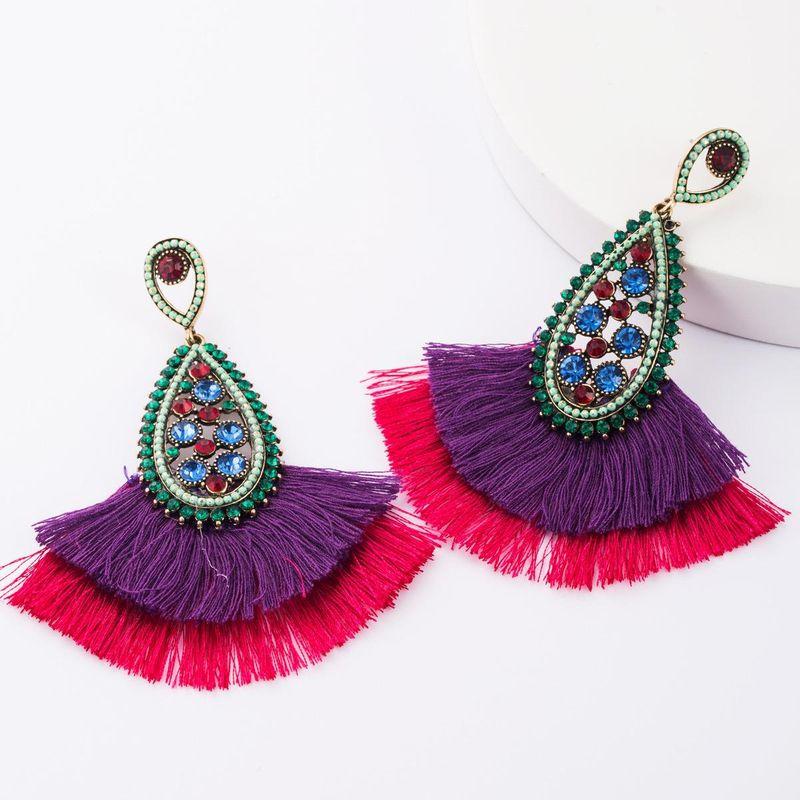 Alloy diamond rhinestone drop-shaped tassel earrings female retro earrings bohemian ethnic style NHJE177410