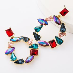 Alloy Diamond Glass Drill Irregular Round Full Diamond Earrings Female Diamond Earrings NHJE177428's discount tags