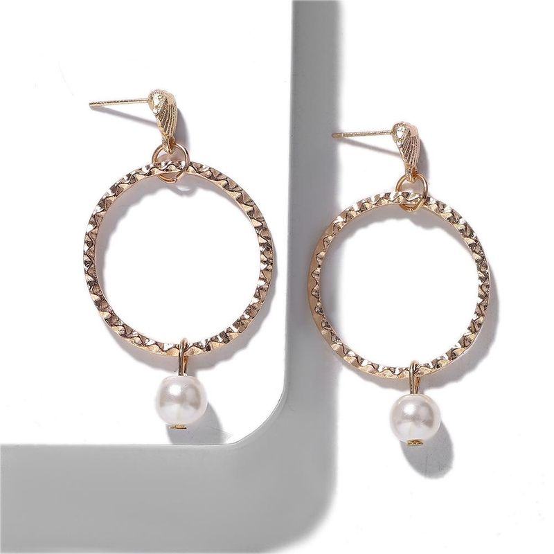 Alloy big circle pearl ear ring fashion atmosphere earrings simple versatile jewelry accessories NHJQ177441