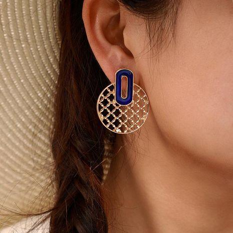 Pendientes redondos huecos de temperamento de moda pendientes de aleación simple textura geométrica NHGY177500's discount tags