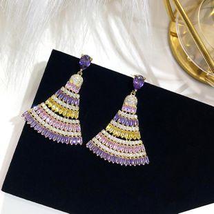 Pendientes personalizados pendientes de circonitas de oro y amarillo pendientes de boda de moda accesorios de atmósfera simple NHDO177655's discount tags