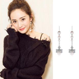 925 Silver Needle Crown Court Chandelier Long Zircon Pearl Tassel Earrings Ear Wire NHDO177656's discount tags