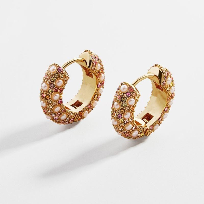 Earrings jewelry copper can open pearl color diamond female ear clip earrings NHLU177623