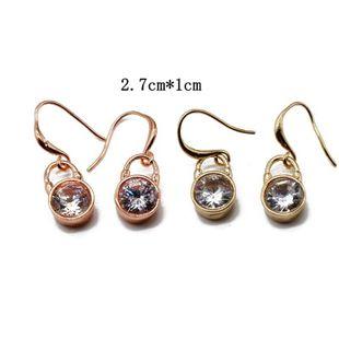 Pendientes de oro rosa dorado Pendientes de circón con gancho para la oreja Pendientes simples de moda NHOM177585's discount tags