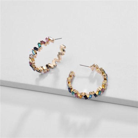 Pendientes de la aleación de la joyería geométrica del color del arco iris T diamante de piedras preciosas doblar pendientes femeninos NHLU177625's discount tags
