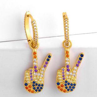 Pendientes de gesto de victoria de dedo de Europa y América pendientes de circón coloridos femeninos NHAS177643's discount tags