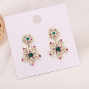 Moda mujer aretes plata aguja copo de nieve estrellas retro personalidad pendientes NHDO177657's discount tags