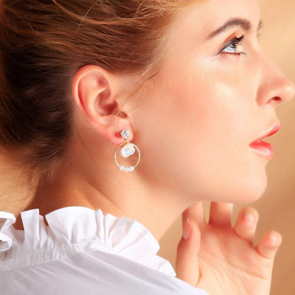 Diamond earrings sleek minimalist geometric circle earrings pearl earrings NHQD177545